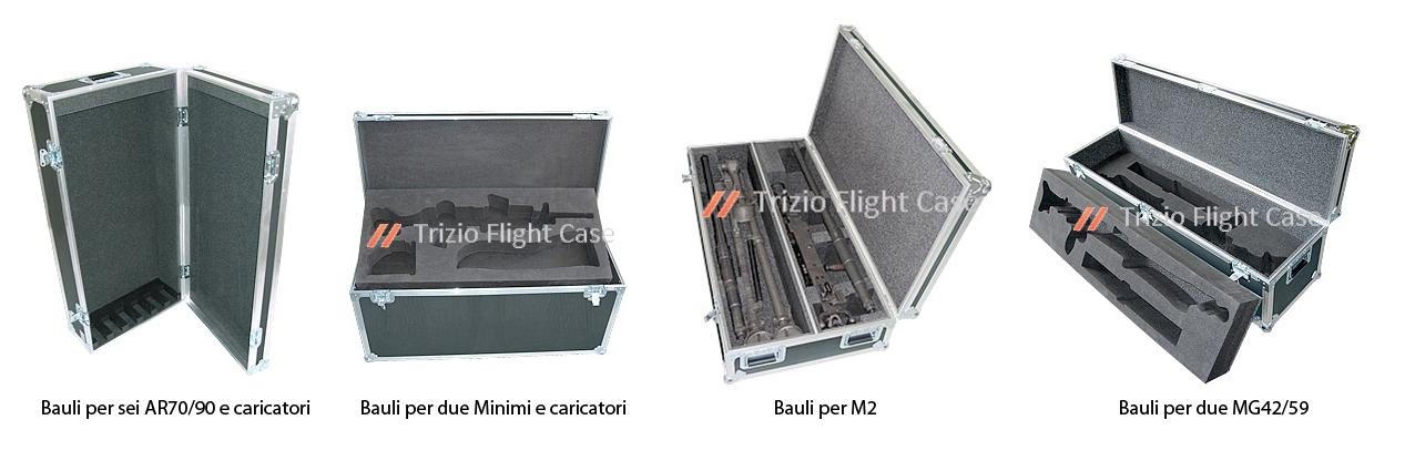 Cassa, bauli per trasportare sei AR70/90 e caricatori, due Minimi e caricatori, M2, due MG42/59